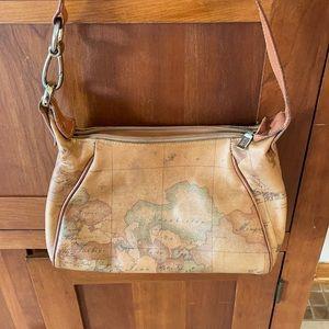 Vintage Alviero Martini Leather Map Handbag
